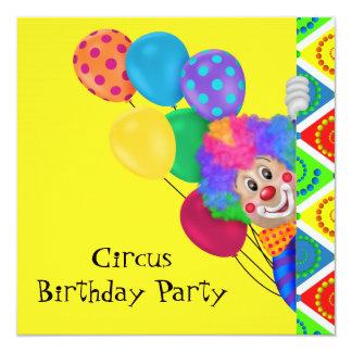 Fiesta de cumpleaños feliz del circo del payaso invitación 13,3 cm x 13,3cm