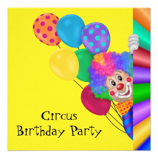 Fiesta de cumpleaños feliz del circo del payaso invitaciones personalizada
