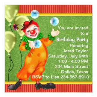 Fiesta de cumpleaños feliz del payaso de circo invitación 13,3 cm x 13,3cm