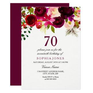 Fiesta de cumpleaños floral de Borgoña Boho la Invitación 12,7 X 17,8 Cm