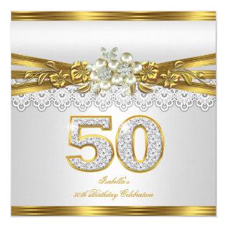 Fiesta de cumpleaños floral de la perla del cordón invitación 13,3 cm x 13,3cm