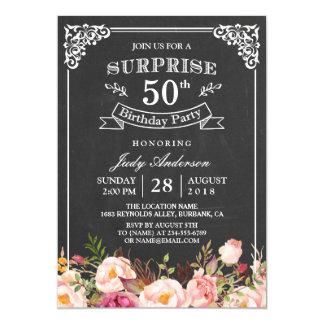 Fiesta de cumpleaños floral de la sorpresa de la invitación 12,7 x 17,8 cm