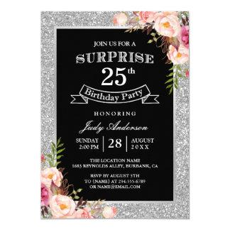 Fiesta de cumpleaños floral de la sorpresa del invitación 12,7 x 17,8 cm