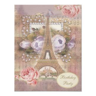 Fiesta de cumpleaños floral de la torre Eiffel Invitación 10,8 X 13,9 Cm