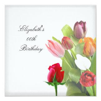 Fiesta de cumpleaños floral de las flores invitación 13,3 cm x 13,3cm