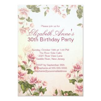 Fiesta de cumpleaños floral de las flores rosadas invitación 12,7 x 17,8 cm