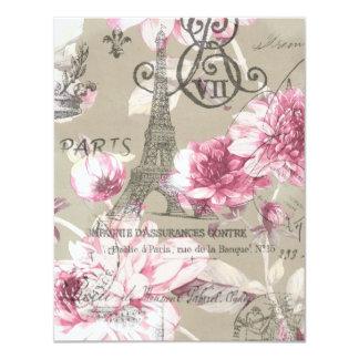 fiesta de cumpleaños floral del vintage de la invitación 10,8 x 13,9 cm