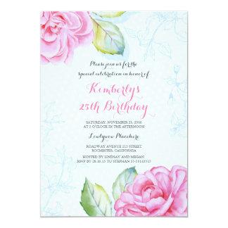 Fiesta de cumpleaños floral rosada botánica de la invitación 12,7 x 17,8 cm