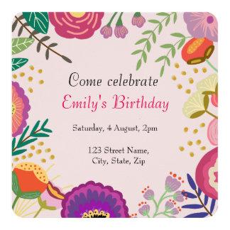 Fiesta de cumpleaños floral rústica de la invitación 13,3 cm x 13,3cm