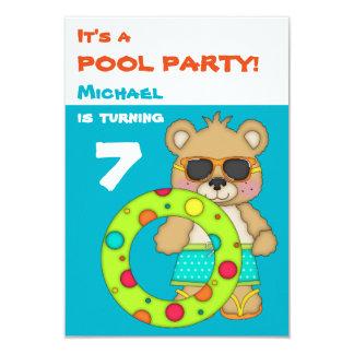 Fiesta de cumpleaños fresca de la piscina de oso invitación 8,9 x 12,7 cm