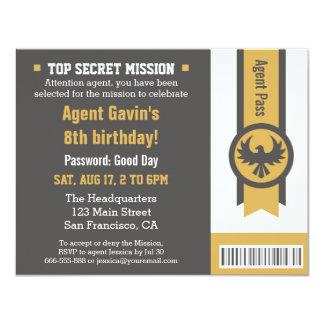 Fiesta de cumpleaños fresca del agente secreto comunicados personalizados