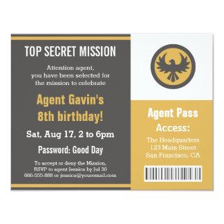 Fiesta de cumpleaños fresca del agente secreto anuncios personalizados