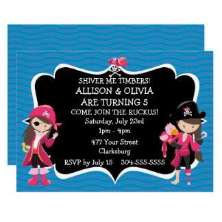 Fiesta de cumpleaños gemela del pirata de los invitación 12,7 x 17,8 cm