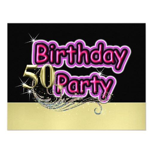 Fiesta de cumpleaños glamorosa de la señal de neón invitación