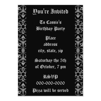 Fiesta de cumpleaños gótica de la elegancia invitación 12,7 x 17,8 cm