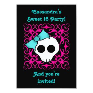 Fiesta de cumpleaños gótica linda del dulce 16 del invitación 12,7 x 17,8 cm