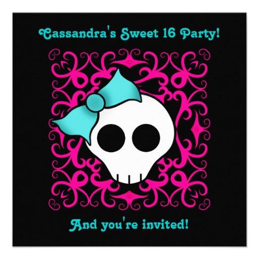 Fiesta de cumpleaños gótica linda del dulce 16 del invitación