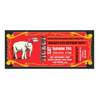 Fiesta de cumpleaños GRANDE del boleto del circo Invitación 10,1 X 23,5 Cm