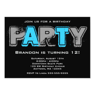 Fiesta de cumpleaños gris y azul del Grunge Invitación 12,7 X 17,8 Cm