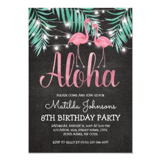 Fiesta de cumpleaños hawaiana tropical de la playa invitación 12,7 x 17,8 cm