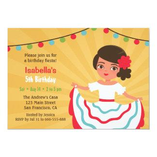 Fiesta de cumpleaños hispánica linda de los chicas invitación 12,7 x 17,8 cm