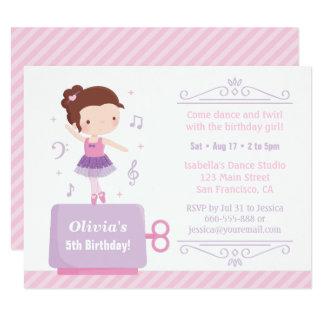 Fiesta de cumpleaños linda de la caja de música invitación 10,8 x 13,9 cm