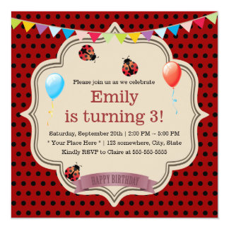 Fiesta de cumpleaños linda de la mariquita de los invitación 13,3 cm x 13,3cm
