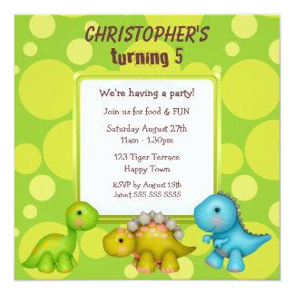 Fiesta de cumpleaños linda de los dinosaurios invitación personalizada