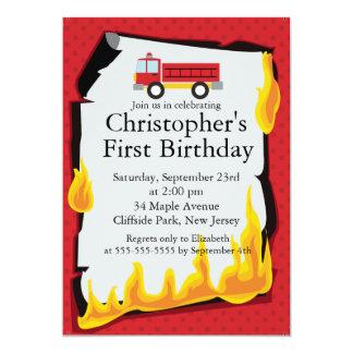 Fiesta de cumpleaños linda del bombero del invitación 12,7 x 17,8 cm