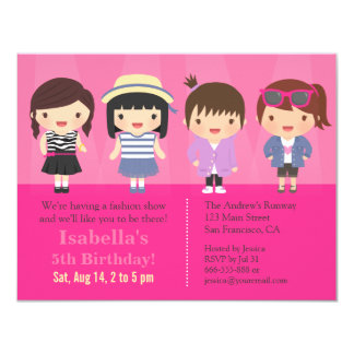 Fiesta de cumpleaños linda del desfile de moda de invitación 10,8 x 13,9 cm