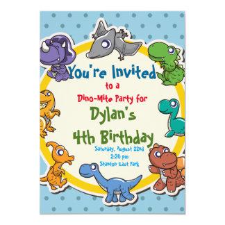 fiesta de cumpleaños linda del dinosaurio invitación 12,7 x 17,8 cm