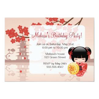 Fiesta de cumpleaños linda del geisha de la muñeca invitación 12,7 x 17,8 cm