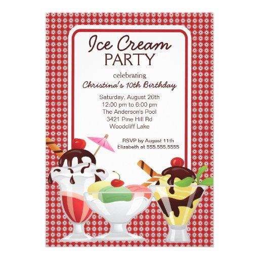 Fiesta de cumpleaños linda del helado del helado d comunicados personales