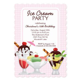 Fiesta de cumpleaños linda del helado del helado invitaciones personalizada