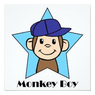 Fiesta de cumpleaños linda del muchacho del mono invitación 13,3 cm x 13,3cm