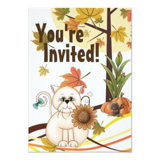 Fiesta de cumpleaños linda del otoño del gato y invitación 12,7 x 17,8 cm