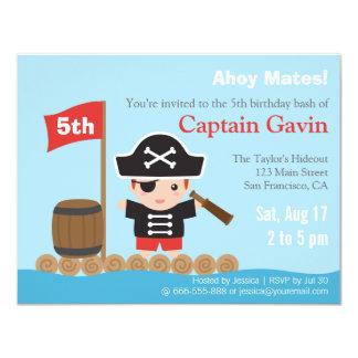 Fiesta de cumpleaños linda del pirata del muchacho invitación 10,8 x 13,9 cm