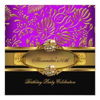 Fiesta de cumpleaños magenta púrpura elegante del invitación 13,3 cm x 13,3cm