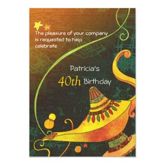 Fiesta de cumpleaños mágica de la lámpara del invitación 12,7 x 17,8 cm