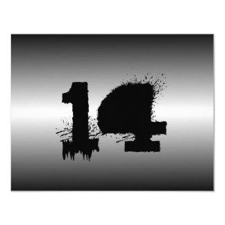 Fiesta de cumpleaños metálica negra de los invitación 10,8 x 13,9 cm