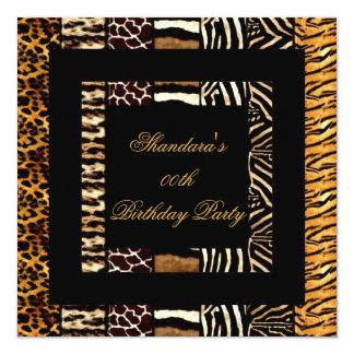 Fiesta de cumpleaños mezclada del negro del oro de invitación 13,3 cm x 13,3cm