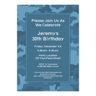 Fiesta de cumpleaños militar del tema de Camo Invitación 12,7 X 17,8 Cm