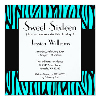 Fiesta de cumpleaños moderna del dulce 16 de la invitación 13,3 cm x 13,3cm