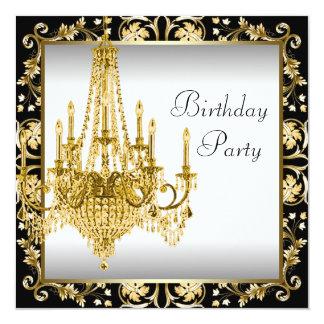 Fiesta de cumpleaños negra blanca de la lámpara invitación 13,3 cm x 13,3cm