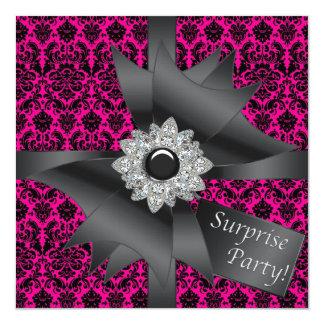 Fiesta de cumpleaños negra de la sorpresa del invitacion personalizada