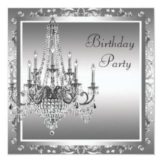 Fiesta de cumpleaños negra de plata de la lámpara invitación 13,3 cm x 13,3cm