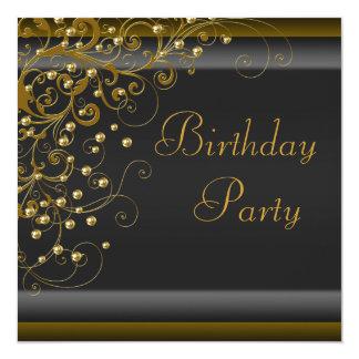 Fiesta de cumpleaños negra del oro de la mujer del invitación 13,3 cm x 13,3cm