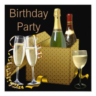 Fiesta de cumpleaños negra del oro de las copas de invitación 13,3 cm x 13,3cm