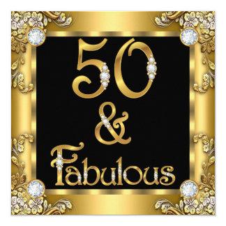 Fiesta de cumpleaños negra del oro fabuloso 50 invitación 13,3 cm x 13,3cm