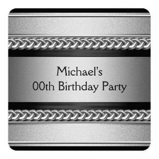 Fiesta de cumpleaños negra elegante de la cadena invitación 13,3 cm x 13,3cm